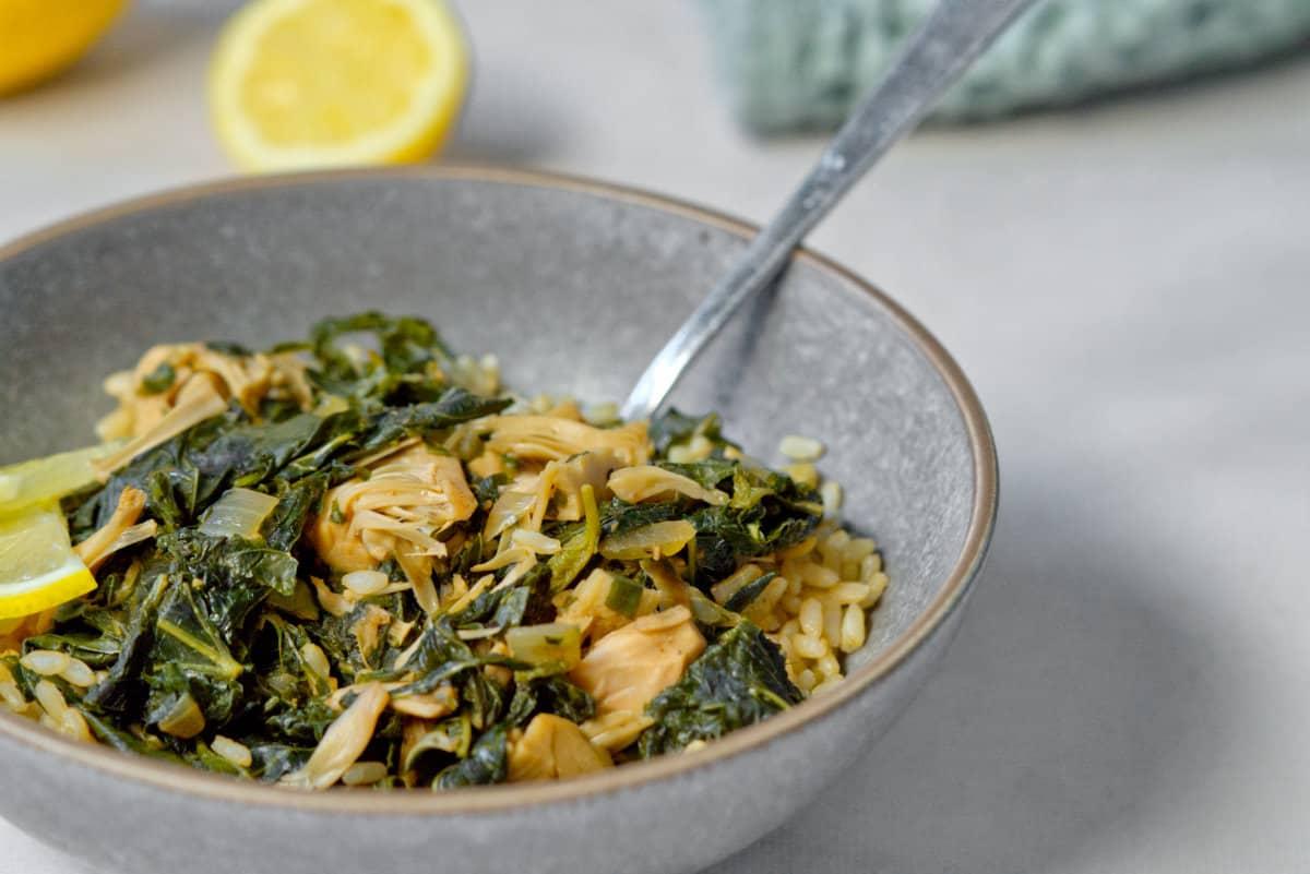 vegan Lebanese Molokhia in a gray bowl
