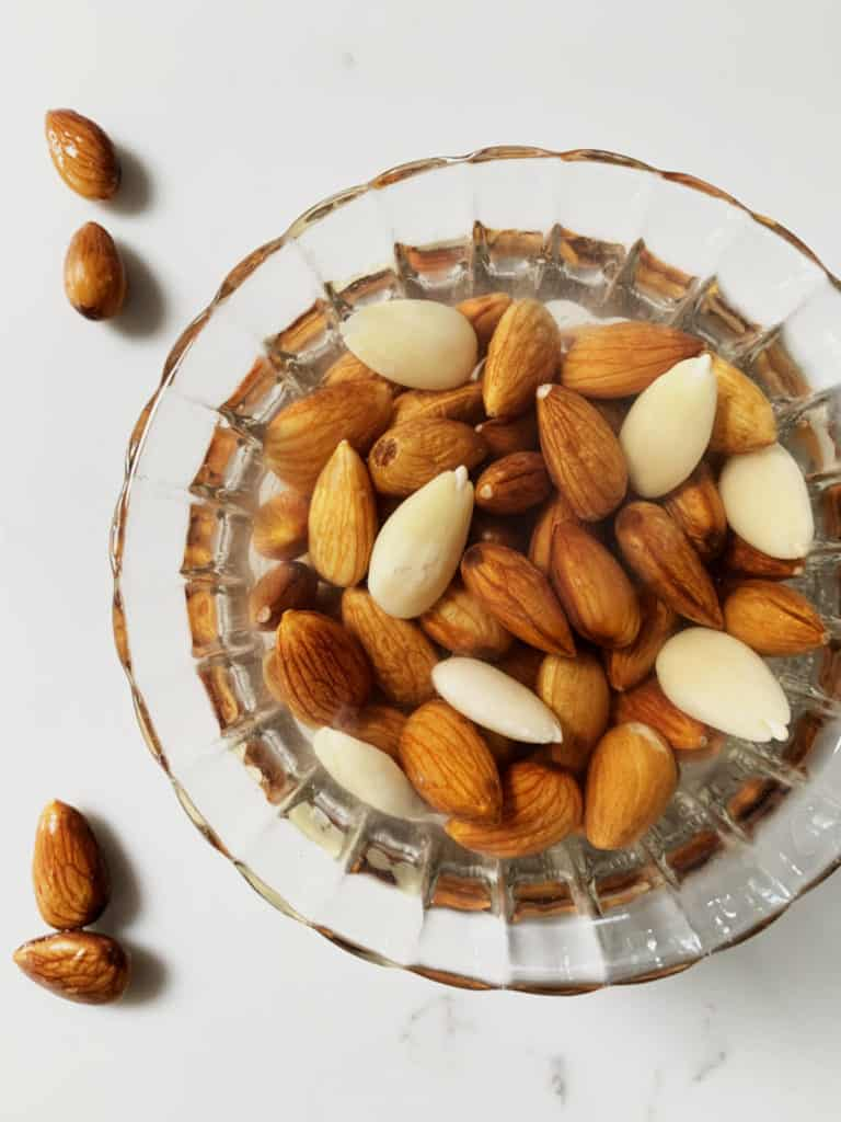 soaked almonds in a bowl