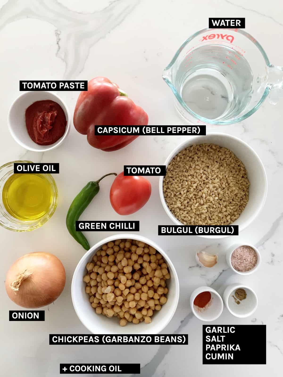 bulgur pilaf ingredients laid out