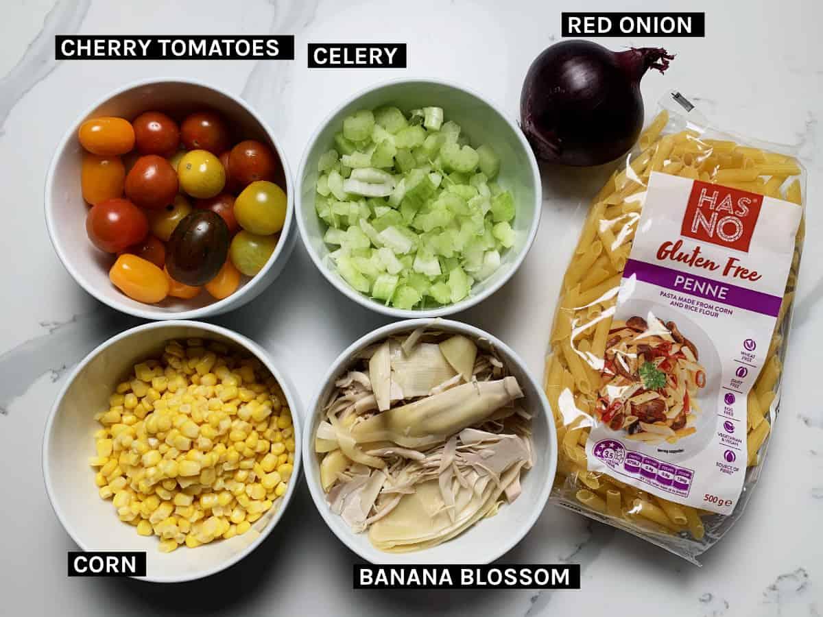 vegan pasta salad dry ingredients laid flat