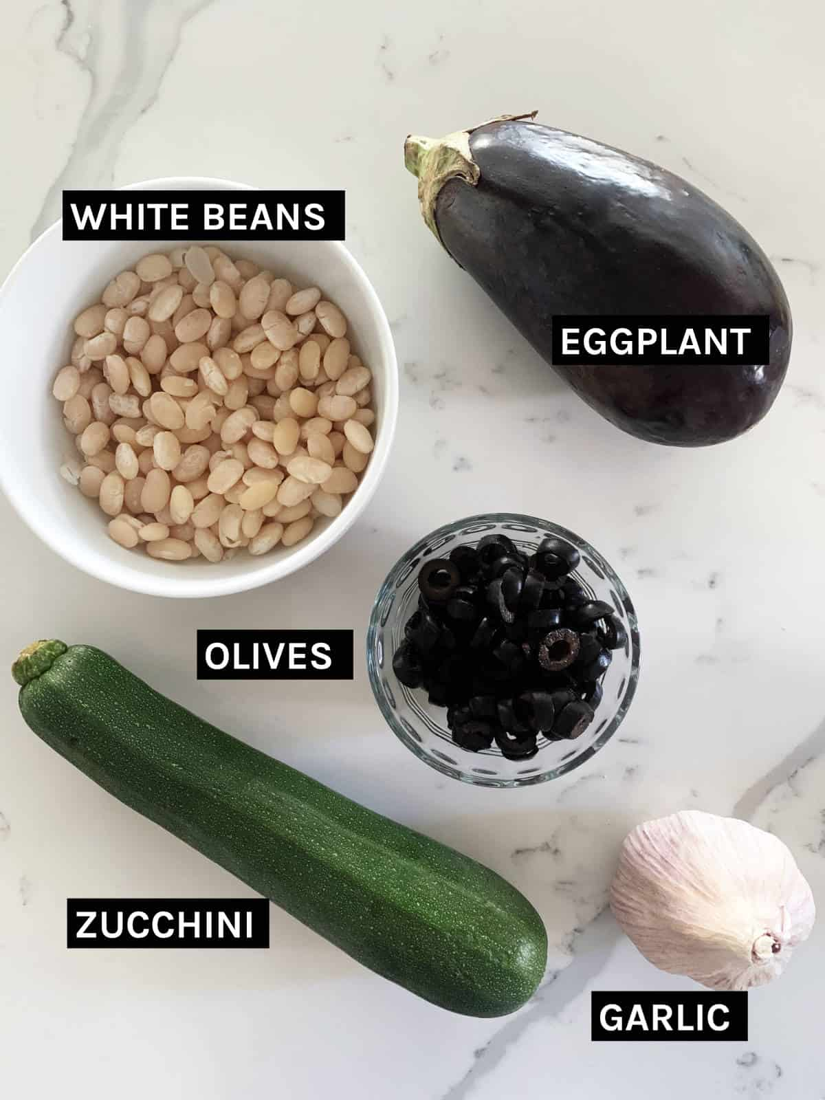 vegan baked pasta ingredients laid out
