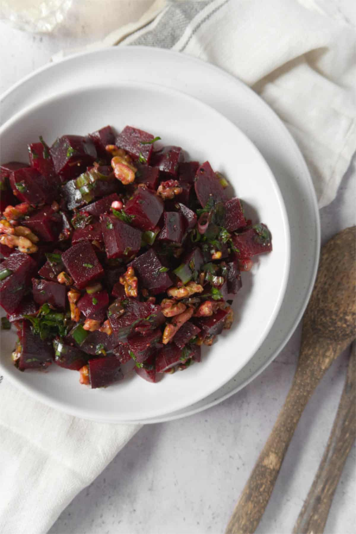 beetroot salad in a white plate