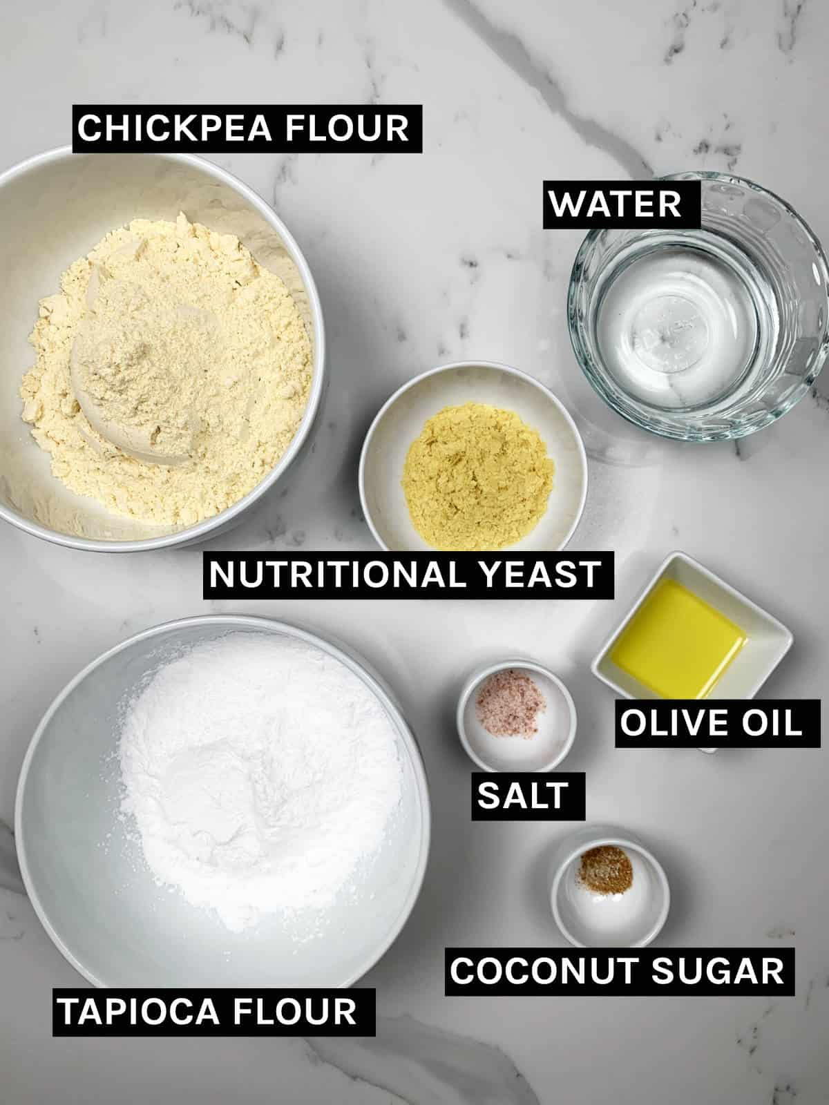 gluten free crackers ingredients laid out
