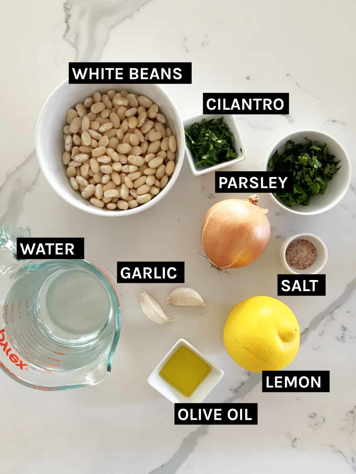 white bean soup ingredients laid out