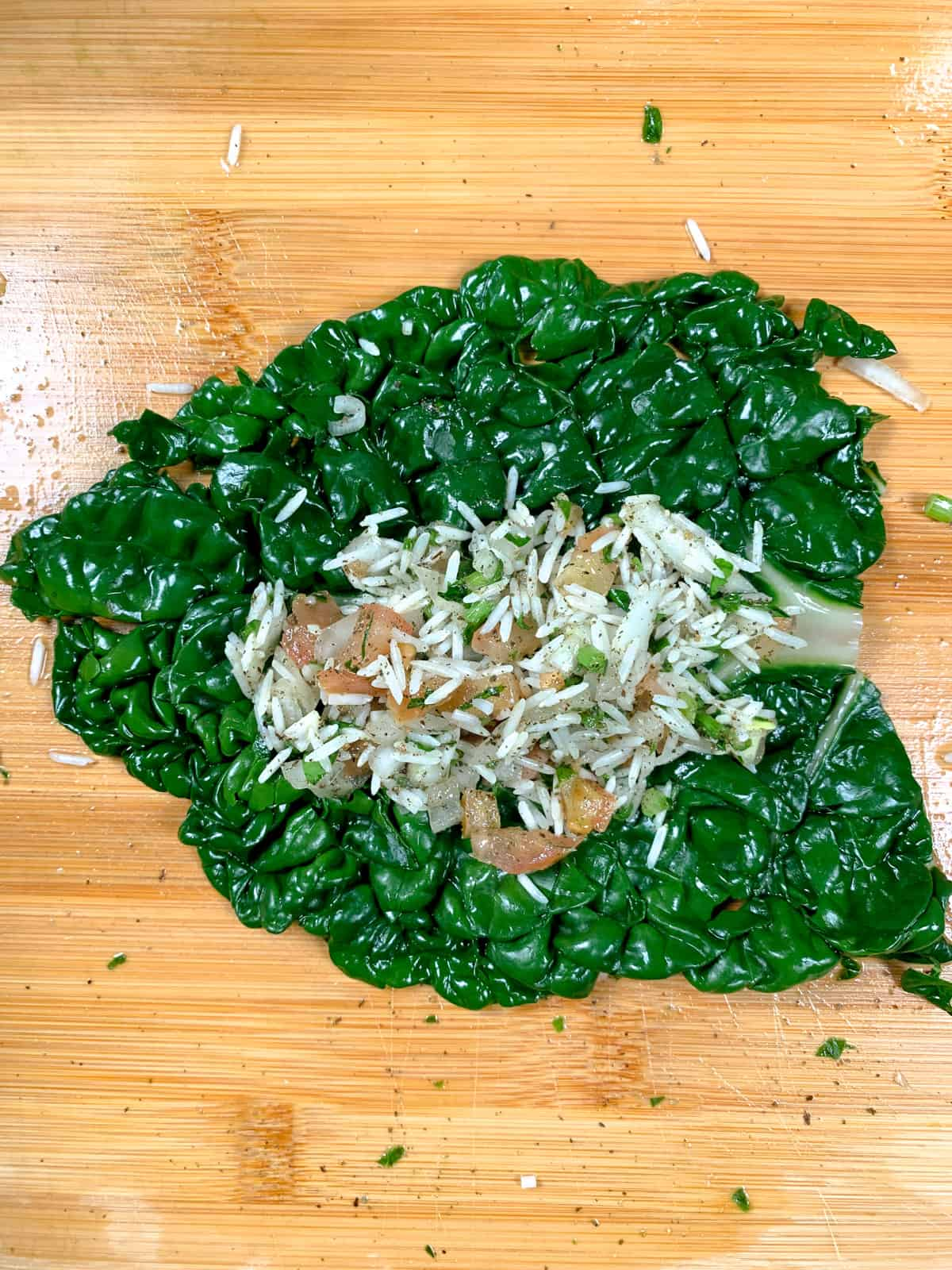 chard leaf with rice filling in the middle