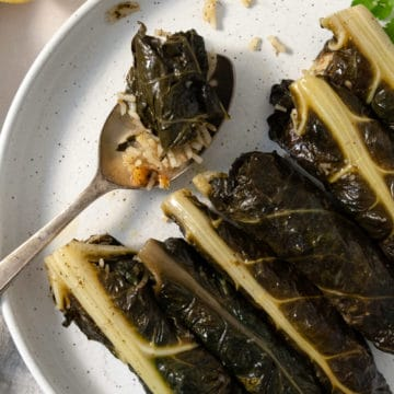 stuffed silverbeet rolls on a white plate with a spoon