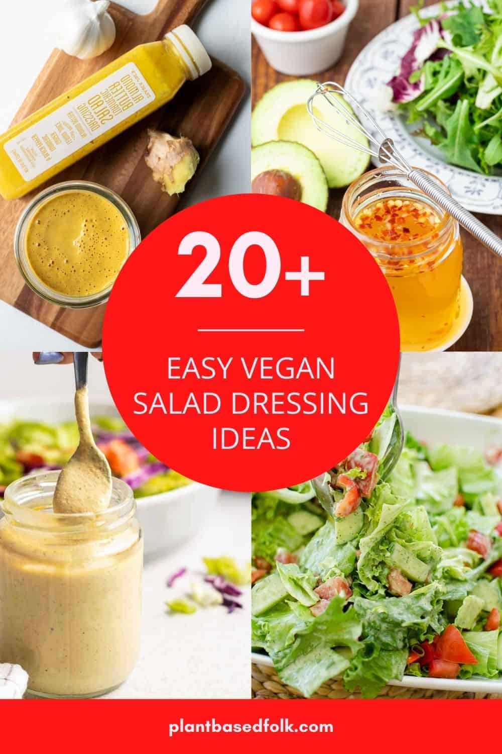 a collage of vegan salad dressings with four photos