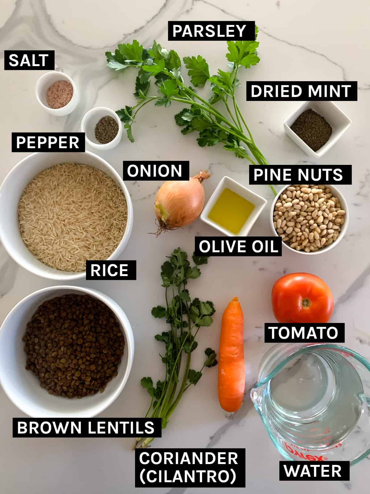 ingredients need to make stuffed bell peppers laid out