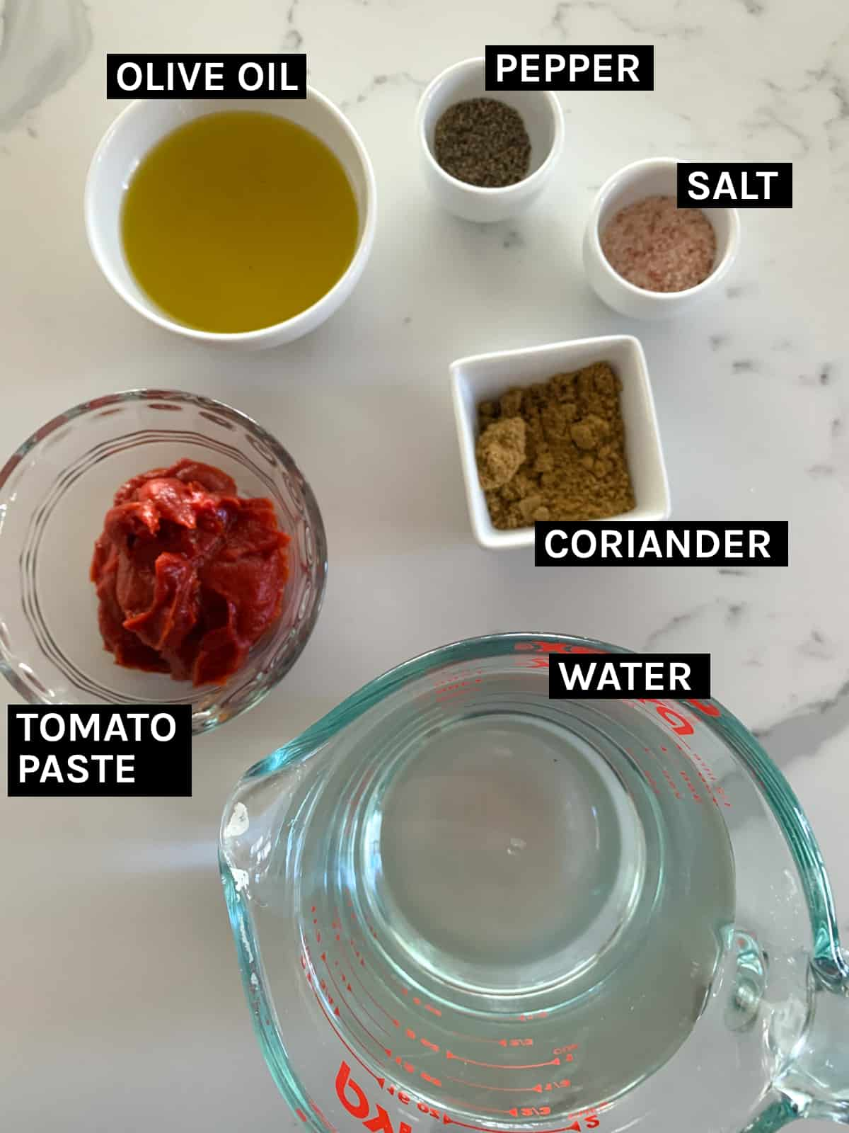 ingredients for the sauce for stuffed peppers laid out