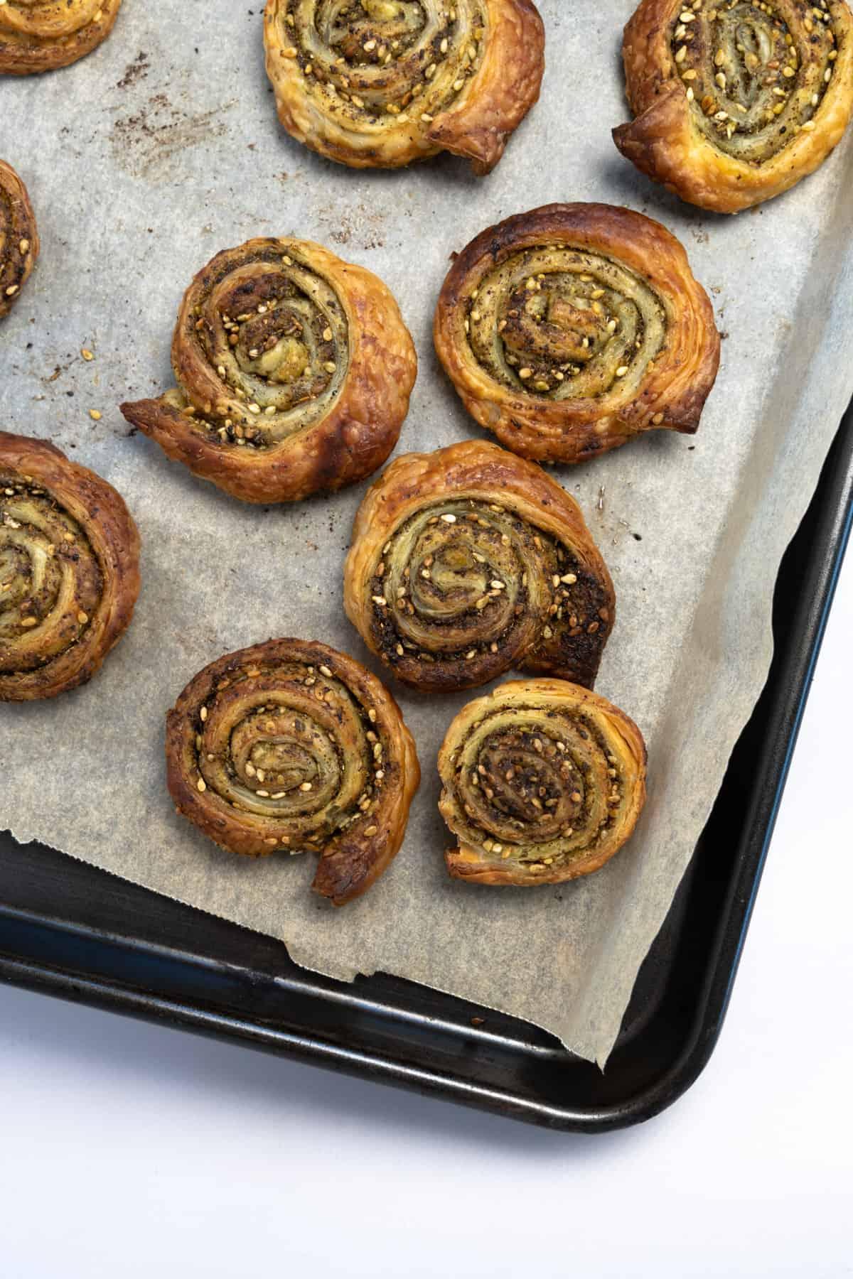 zaatar pinwheels on a baking sheet