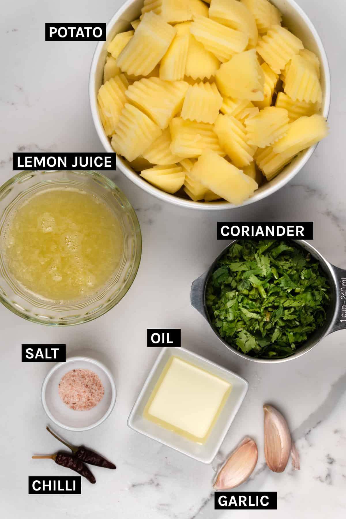 Batata harra ingredients laid out